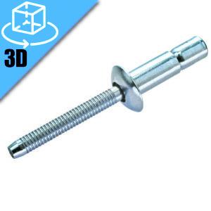 Goebel ML Series Domed Head M-Lock Blind Rivet 3D Model