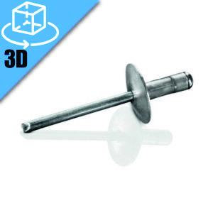 Goebel LFMGCT Series Large Flange Head Multi-Grip Blind Rivet 3D Model