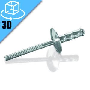 Goebel LFMGRT Series Large Flange Head Multi-Grip Blind Rivet 3D Model