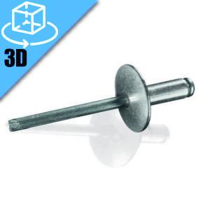 Goebel Large Flange Head Open End Blind Rivet 3D Model