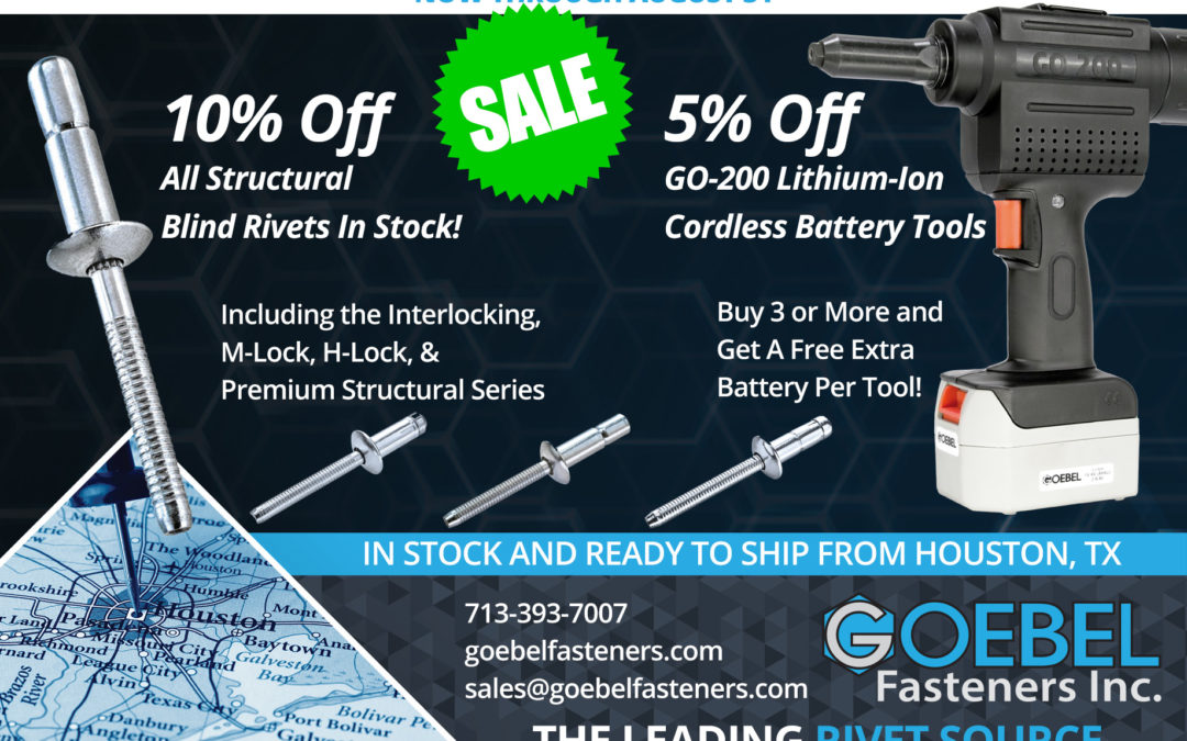 Summer Promo! 10% Off All Structural Rivets in Stock + 5% Off GO-200 Cordless Rivet Tool!