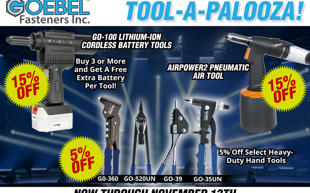 Tool-A-Palooza! 15% Off GO-100 Cordless Rivet Tool & AirPower2 Pneumatic Air Tool + 5% Select Heavy-Duty Hand Tools!!
