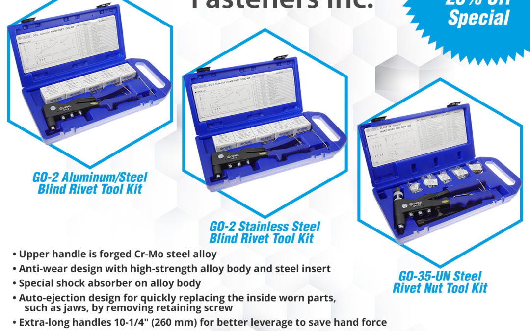 NEW Product Alert! GO-2 Rivet and GO-35-UN Rivet Nut Hand Tool Kits w/ Included Fastener Assortments