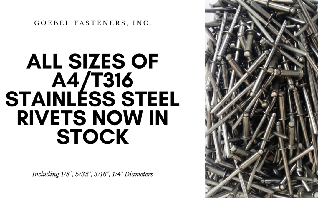All Sizes of A4 / T316 Stainless Steel Rivets Now In Stock