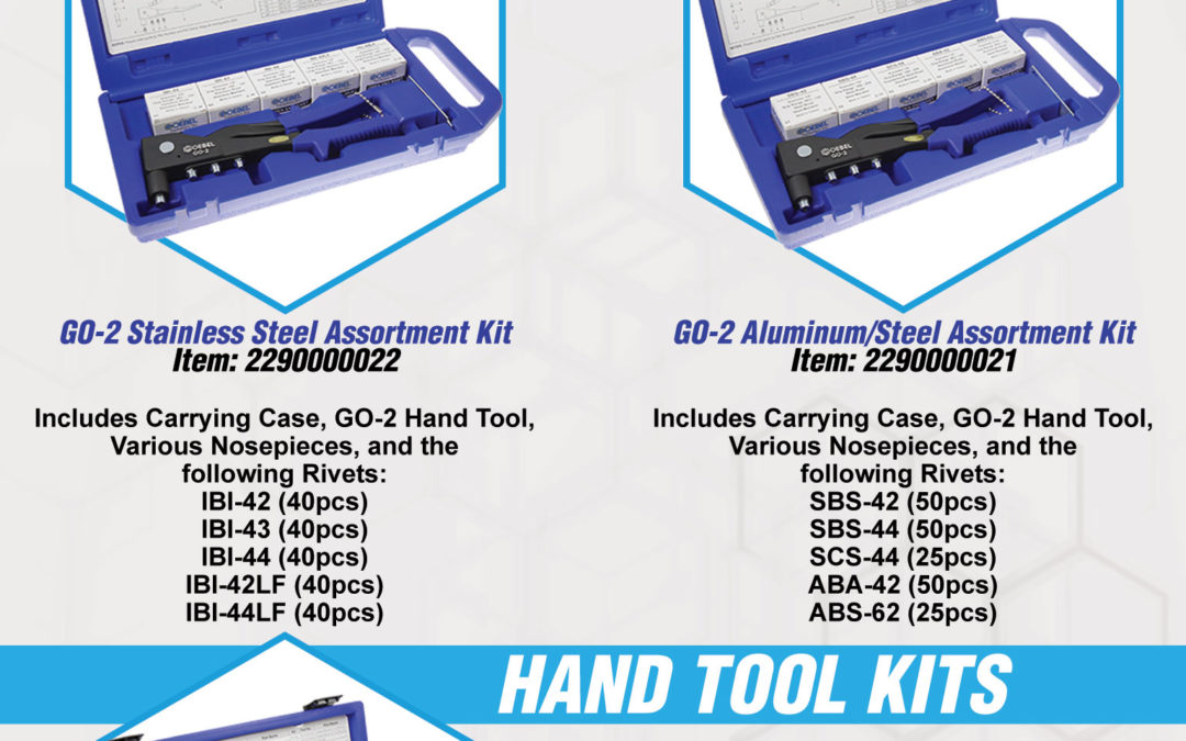 GO-2 Rivet and GO-35-UN Rivet Nut Hand Tool Kits w/ Included Fastener Assortments